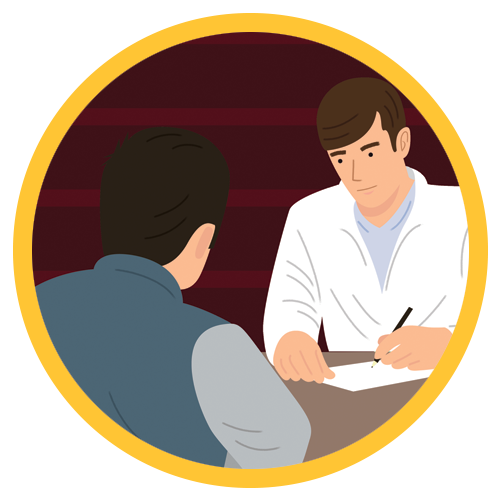Pharmacist consulting with a patient illustration