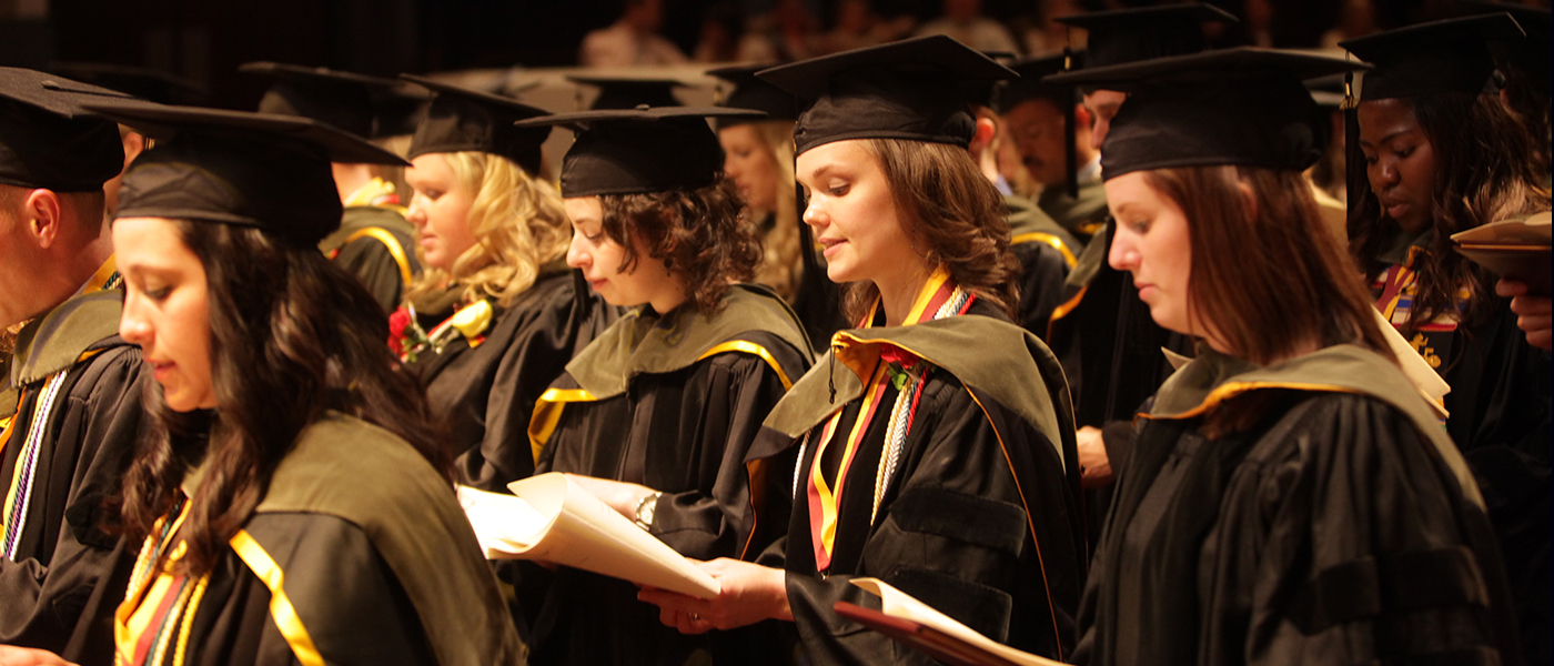 Pharmacy graduates at their commencement ceremony