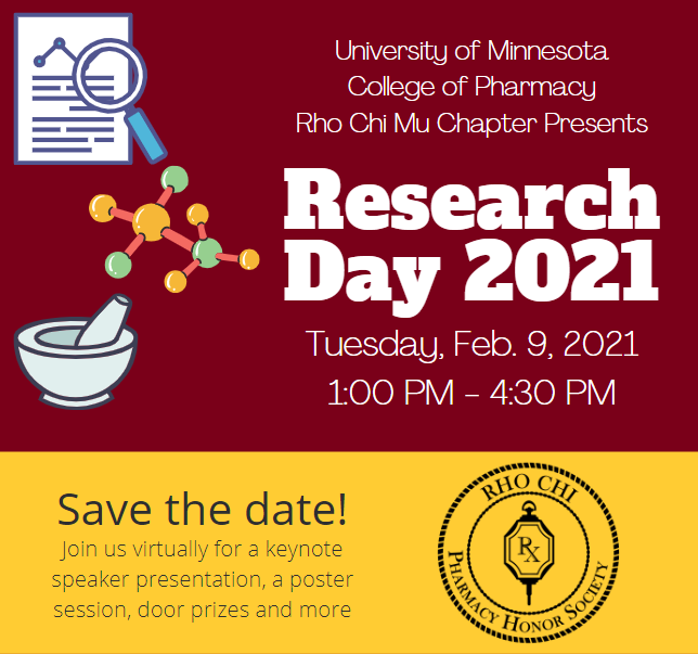 Research day 2021 event flyer. Maroon background with illustrations of mortat and pestle, checmical structure, and paper with magnifying glass.
