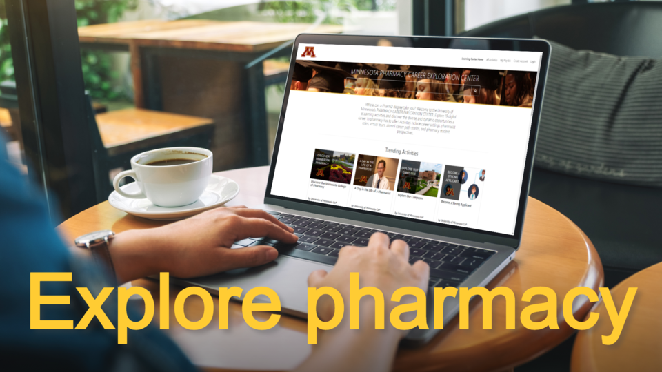 Image looking over a person's shoulder at a laptop with the Minnesota Pharmacy Careers Exploration Center on the screen