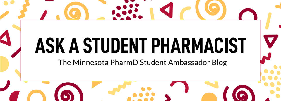 ask a student pharmacist title with decorative graphic pattern